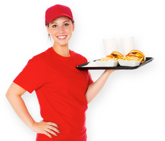 A happy employee listening to the best restaurant music serves quick service restaurant food to customers.